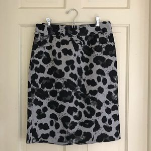 Banana Republic Gray Leopard Pencil Skirt